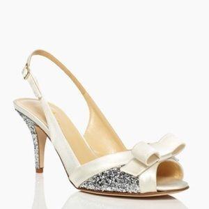 NWOT Kate Spade Satin Glitter Slingback Heels